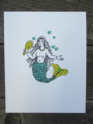 Letterpress Print - Mermaid