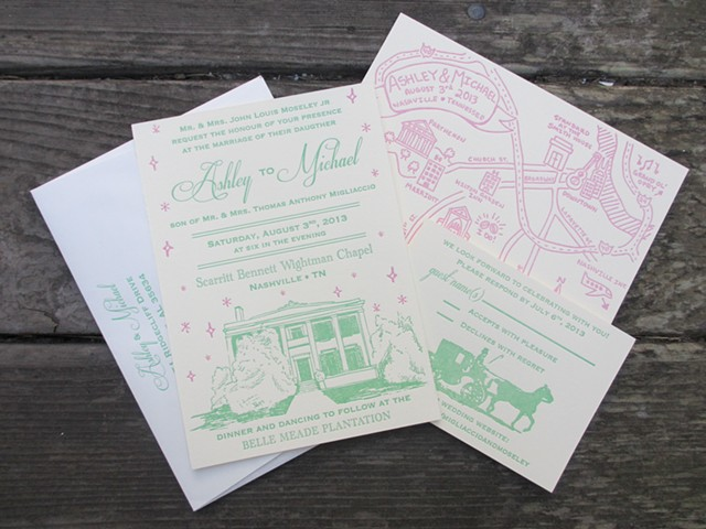 Letterpress Wedding Suite - Nashville