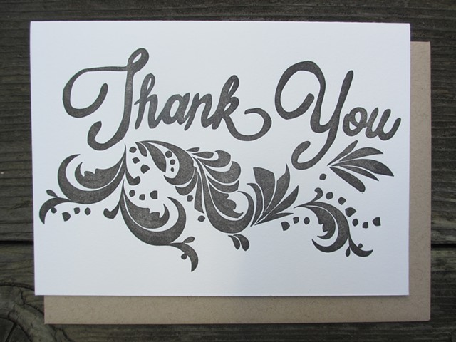 Letterpress Card - Thank You (Charcoal)