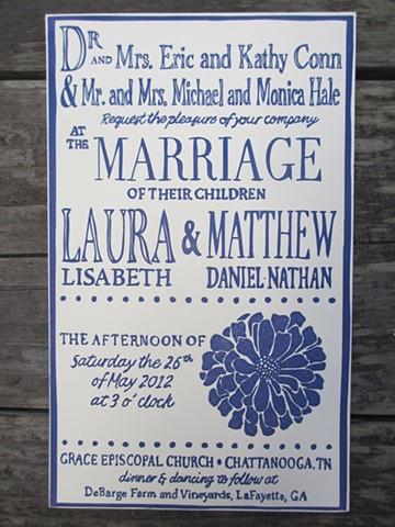 Letterpress Wedding Invitations - Something Blue