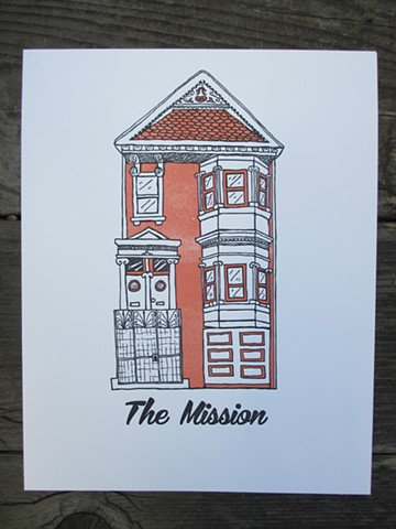 Letterpress Print - San Francisco Mission House