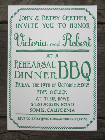 Letterpress Invitations - Backyard BBQ