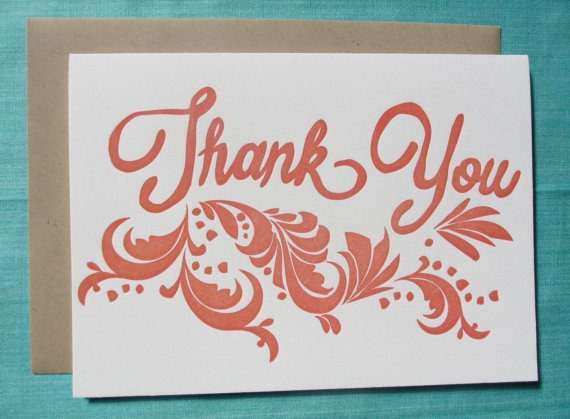 Letterpress Card - Thank You (Coral)