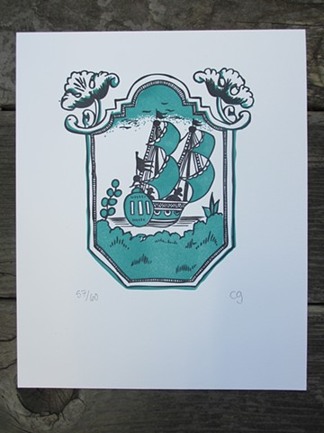 Letterpress Print - Russian Ship