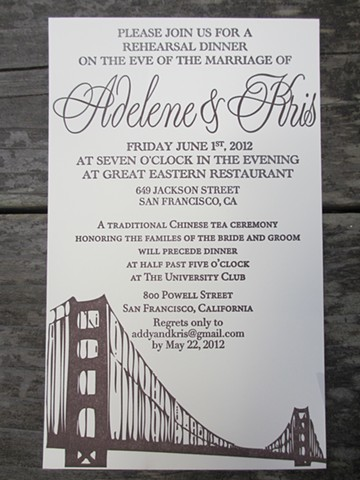 Letterpress Wedding Invitations - City Skyline
