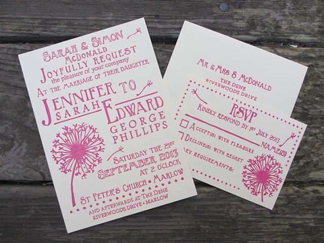 Letterpress Wedding Suite - Dandelion