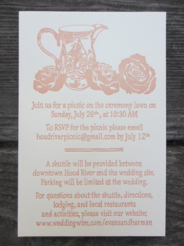 Letterpress Wedding Information Card - Country Rose