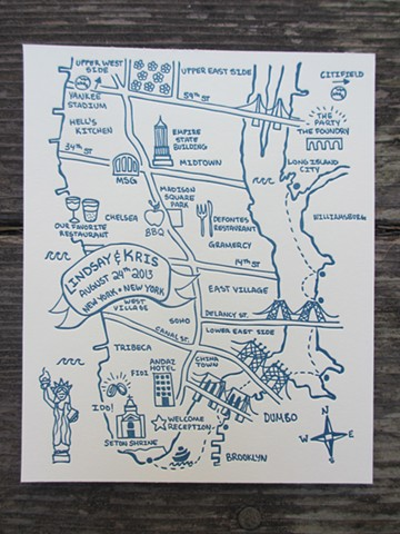 Letterpress Wedding Map - New York