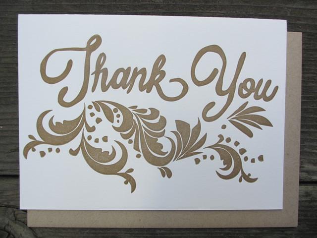 Letterpress Card - Thank You (Bronze)