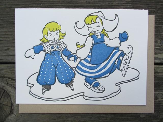 Letterpress Card - Dutch Ice Skaters (Blue)