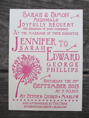 Letterpress Wedding Invitation - Dandelion