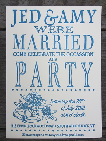 Letterpress Wedding Invitations - Robin's Egg Blue
