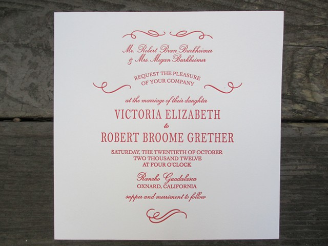 Letterpress Wedding Invitations - Elegant Evening