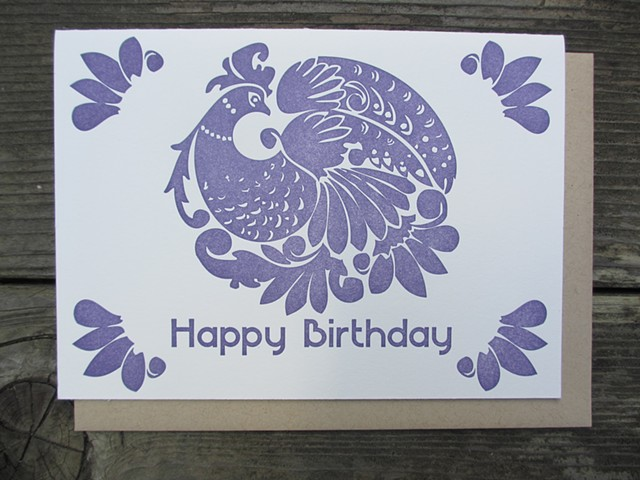 Letterpress Card - Birthday Peacock (Purple)