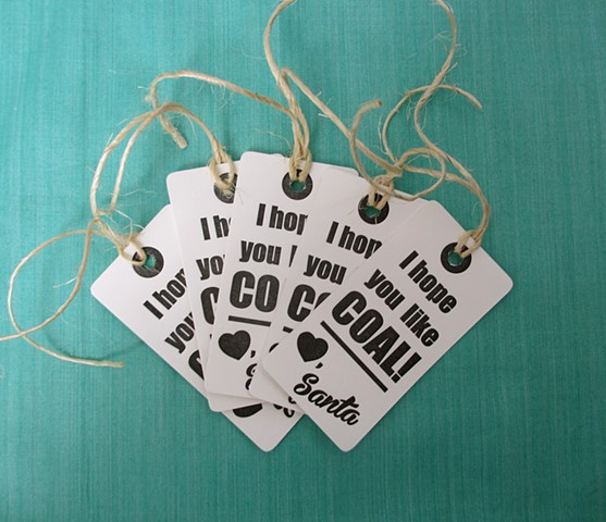 Letterpress Gift Tags - I Hope You Like Coal, Set of 5