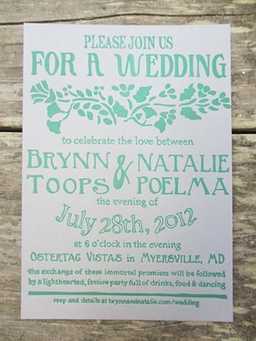 Letterpress Wedding Invitations - Folk Art Floral