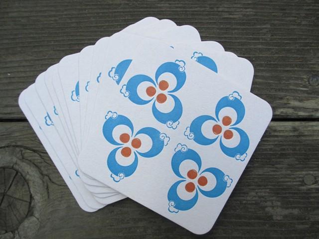 Letterpress Coasters - Iznik, Set of 10
