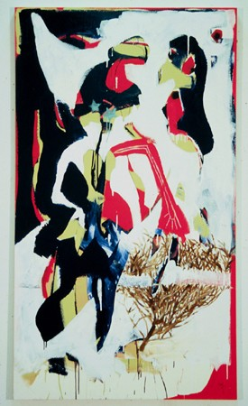 Acrylic mixed media original painting, tumbleweed, enamel, graffiti, sharpie marker, navy blue.