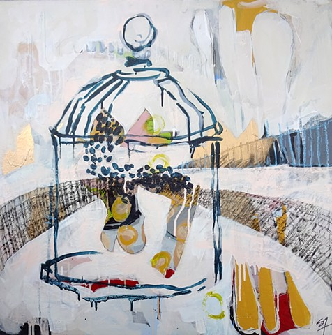 Beanette, mixed media acrylic painting, bird cage, gold spray paint