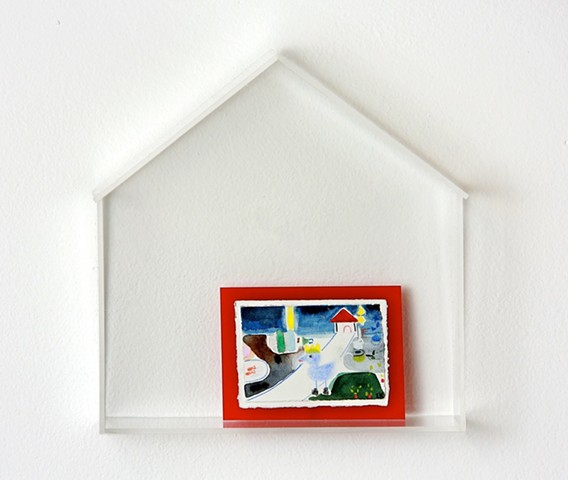 a picture with red frame