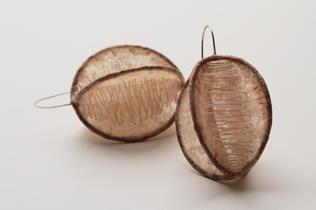 Threaded Coffee filter earrings by Sara Owens