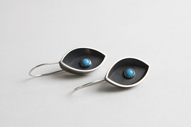 Night Watch Earrings, sterling silver and turquoise by Sara Owens