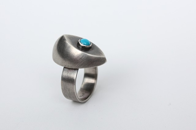 Good Eye Ring, sterling and turquoise by Sara Owens