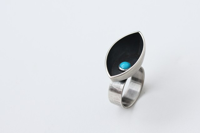 Night Watch Ring, sterling silver and turquoise by Sara Owens