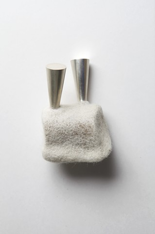 Adaptation 2 (brooch): wool, sterling silver; needle felted, formed, fabricated by Sara Owens