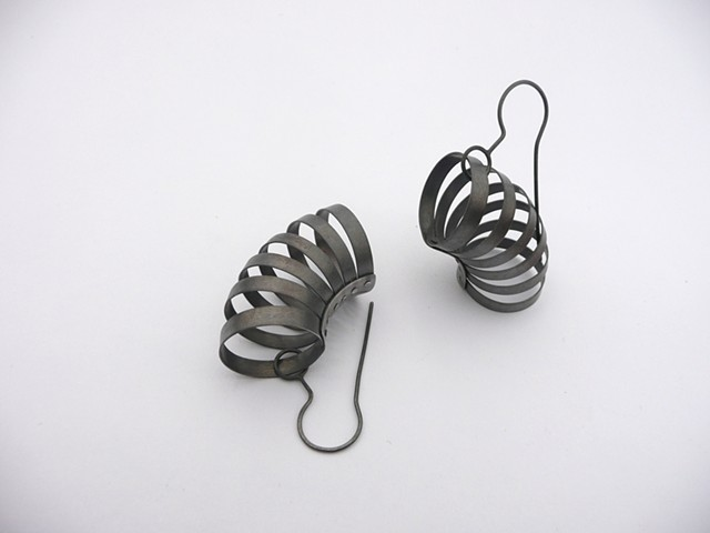 Corset Earrings, Sterling silver by Sara Owens