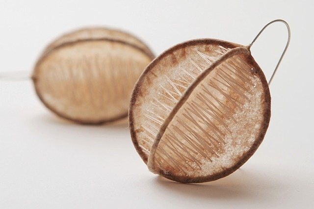 Coffee filter earrings by Sara Owens