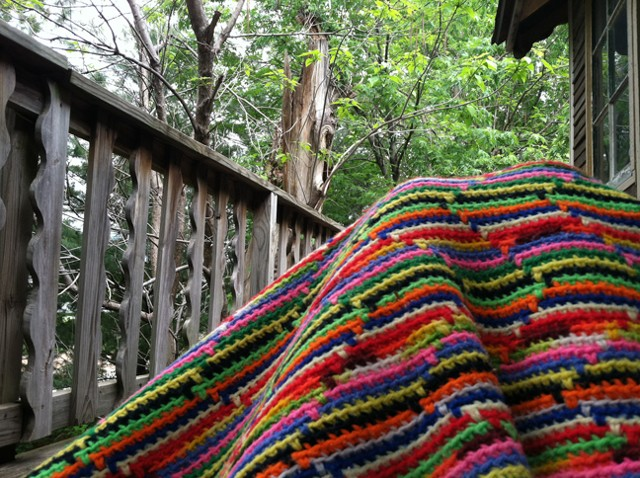 Mountain Range The way that this blanket was made reminded me of the meticulous rice fields near the Great Wall of China, which was also recreated here in my deck railing. The Maple leaves with all their bushiness and edges I saw as tea on bushes, which w