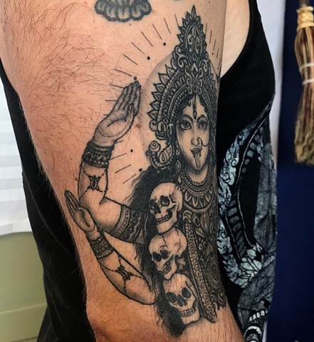 this is a tattoo of kali the divine mother of the universe fully healed and done in black and grey with lots of detail by amanda marie female tattoo artist in Los Angeles California in ace of wands in San Pedro private tattoo studio and sacred space