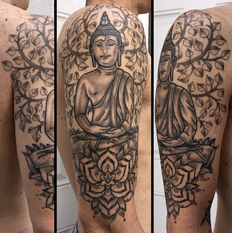 buddha spiritual tattoo done by Amanda Marie female tattooer and owner of ace of wands private tattoo studio in san pedro Los Angeles California
