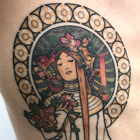 Tattoo that is an art reproduction by Amanda Marie at ace of wands private tattoo studio in San Pedro Los Angeles California