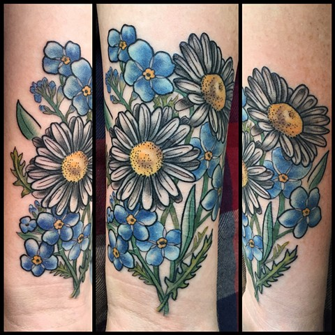 this is a color tattoo of flowers done by amanda marie lady tattooer in los angeles california at her private tattoo studio ace of wands in San Pedro