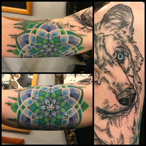 this is a spirit animal tattoo of a wolf including a mandala and sacred geometry done by amanda marie tattooer at ace of wands private tattoo studio in san pedro california los angeles