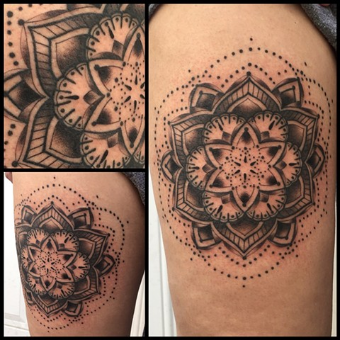 this is a black and grey mandala tattoo done by amanda marie tattooer in los angeles california at evermore tattoo