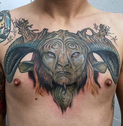 this is a tattoo of pan from pans labyrinth done in color by amanda marie tattooer in los angeles california at evermore tattoo