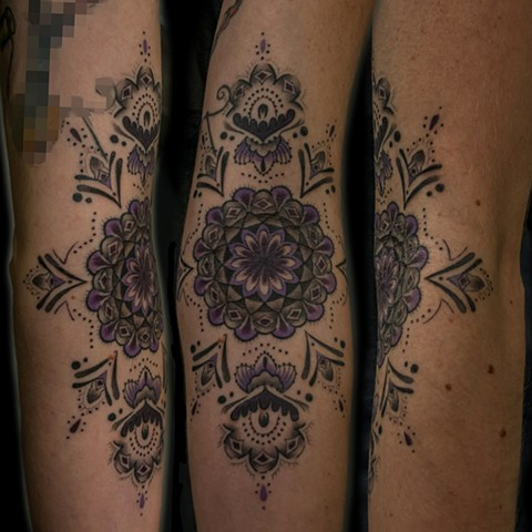this is a tattoo of a mandala done on the inner arm in the ditch by amanda marie at evermore tattoo in los angeles california