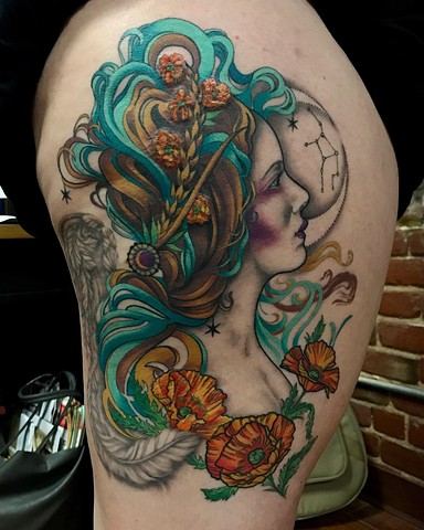this is a tattoo of a virgo goddess done in color in an art nouveau style by amanda marie female tattooer tattoo artist in san pedro los angeles california at ace of wands tattoo private tattoo studio it is a sacred space for spiritual healing tranformati