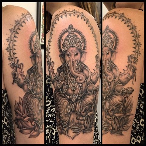 this is a tattoo of ganesha done in black and grey by amanda marie tattooer in los angeles california at evermore tattoo