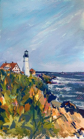 original gouache painting of Maine lighthouse by artist Katie Wall Podracky