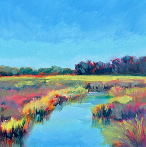 Original oil painting of the low country at Figure Eight Island by artist, Katie Wall Podracky