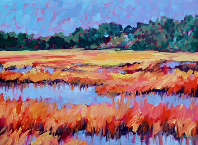 Original oil painting of the Carolina saltwater marsh by artist, Katie Wall Podracky
