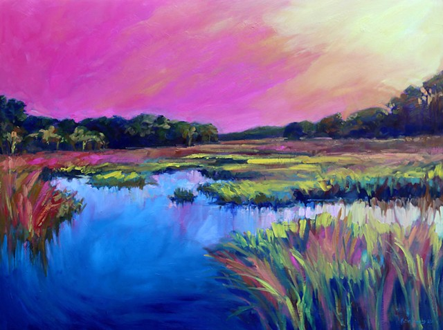 Original oil painting of Savannah, Georgia marsh by artist, Katie Wall Podracky