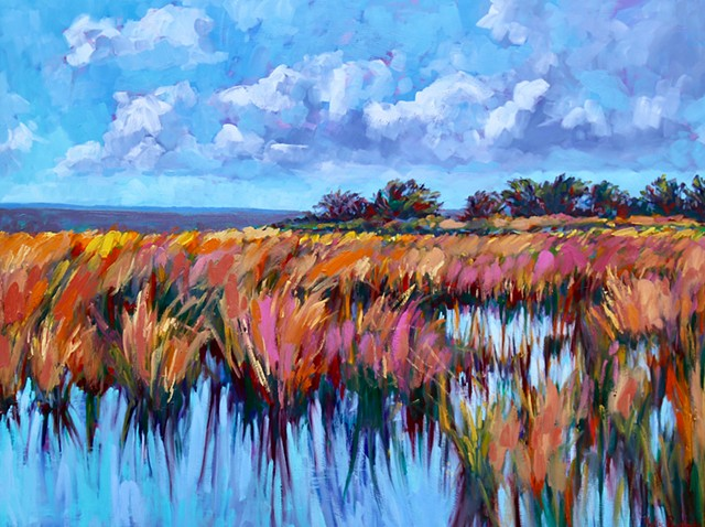 Original oil painting of the Carolina coast by artist, Katie Wall Podracky