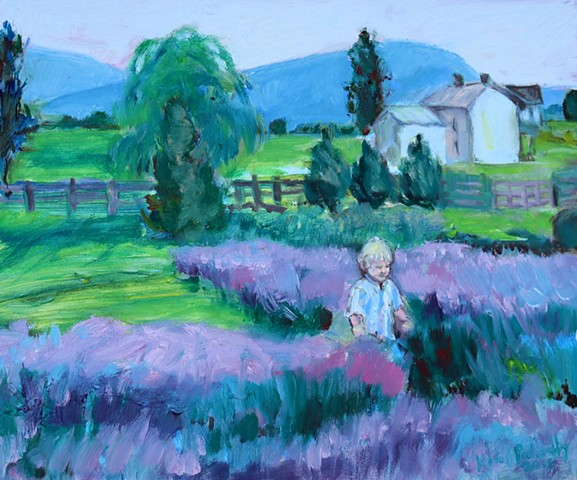 Original oil painting children's portrait in lavender field by Katie Wall Art