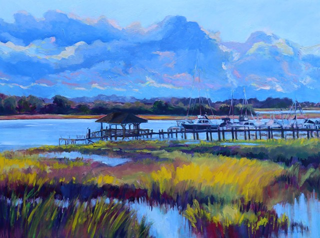Original oil painting of Thunderbolt Marina in Savannah, GA by artist Katie Wall Podracky