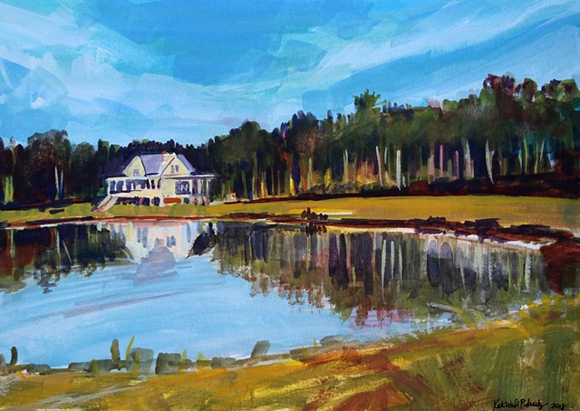 Original gouache painting of South Carolina house by a lake by artist, Katie Wall Podracky